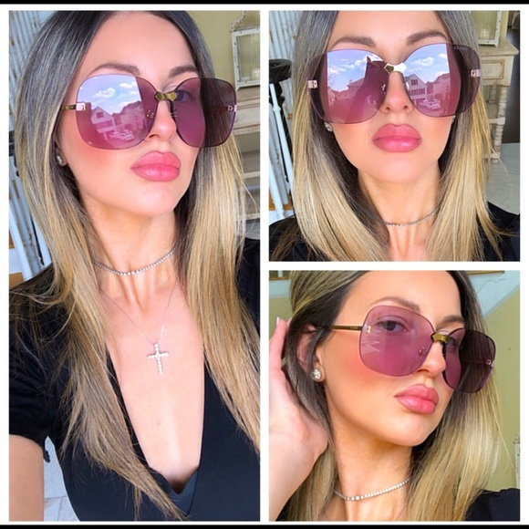 🔥NEW LUXURY GUCCI VIOLET RIMLESS SUNGLASSES🔥
